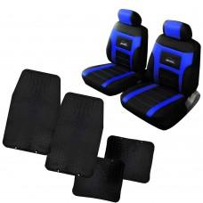 Kit Coprisedili Coppia anteriori con tappetini in gomma universali - adattabili airbag e bracciolo cod. Tobago+Praga